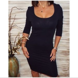 Dresses & Skirts - 3/4 Sleeve Scoop Bodycon Tee Dress Navy Blue 0119